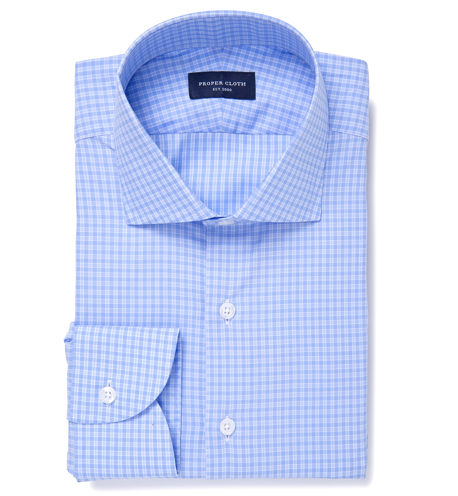 Chambers blue check dress shirt by proper cloth for Blue check dress shirt