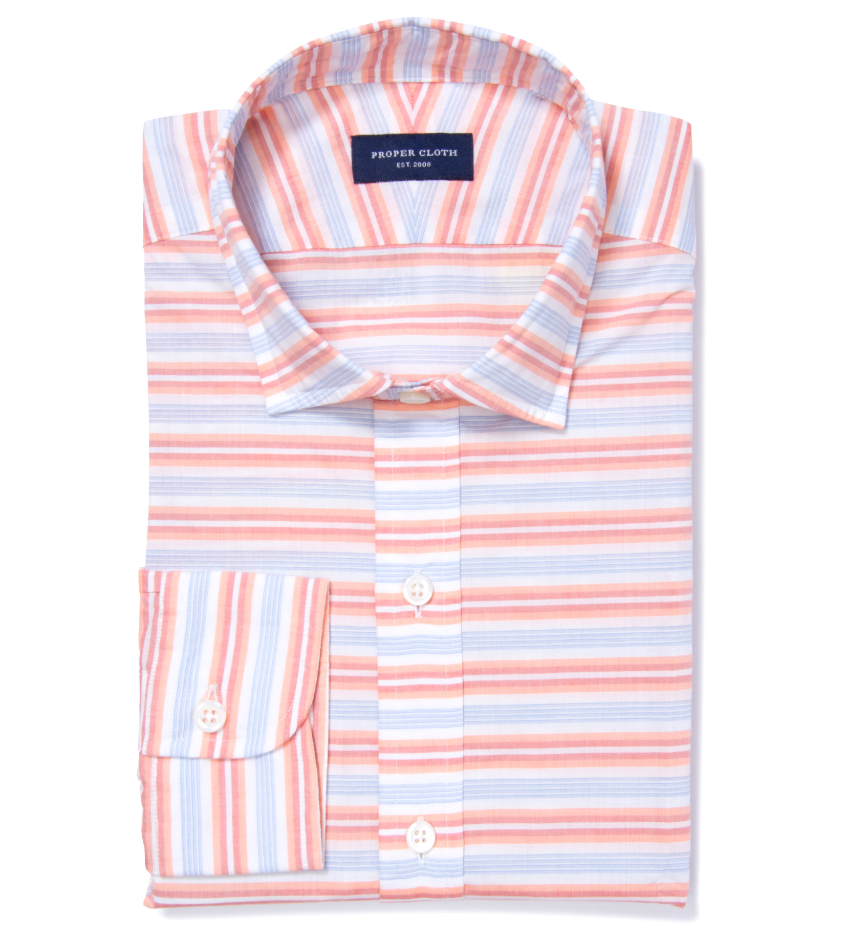 Orange and white horizon stripe custom dress shirt by for Proper cloth custom shirt price