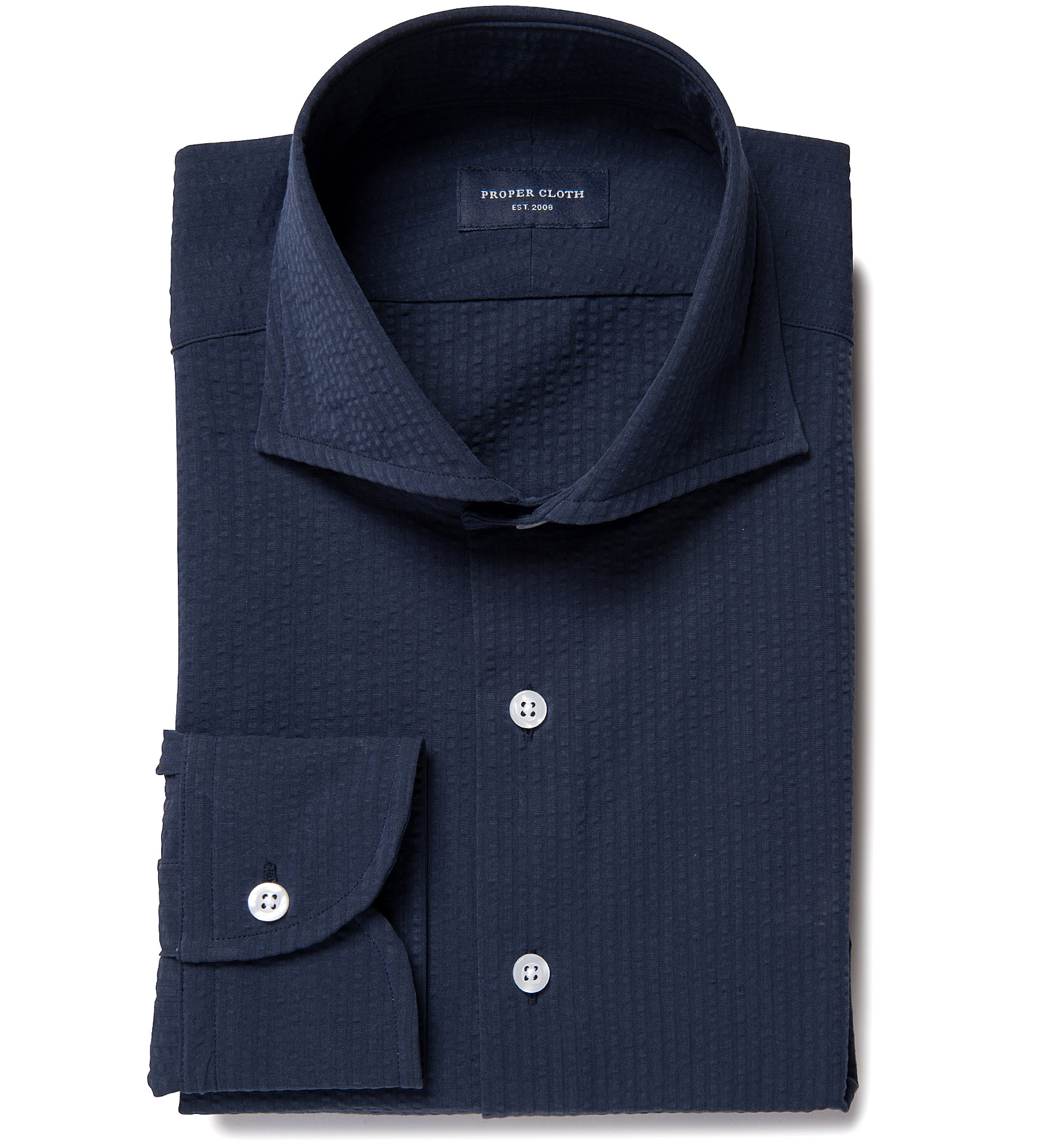 Portuguese navy seersucker custom dress shirt by proper cloth for Proper cloth custom shirt price