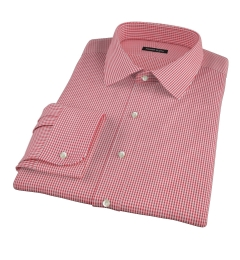 100s Red Mini Gingham Fitted Dress Shirt