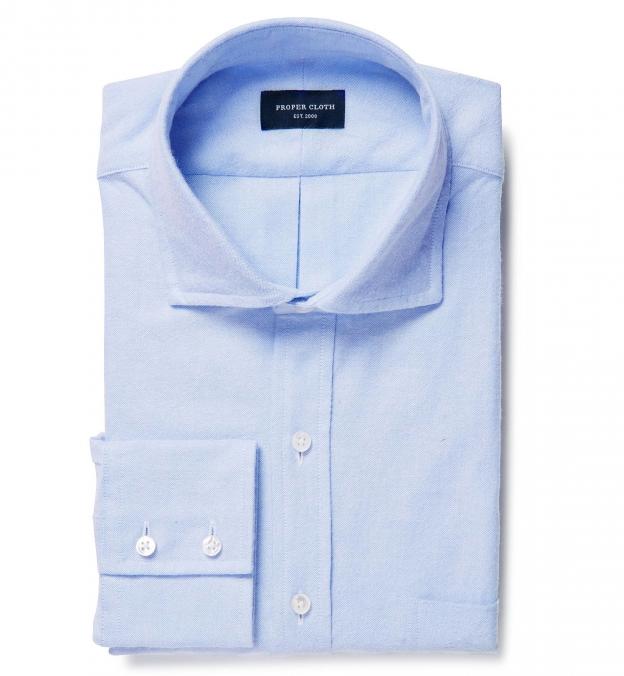 Light Blue Flannel Oxford Custom Dress Shirt By Proper Cloth