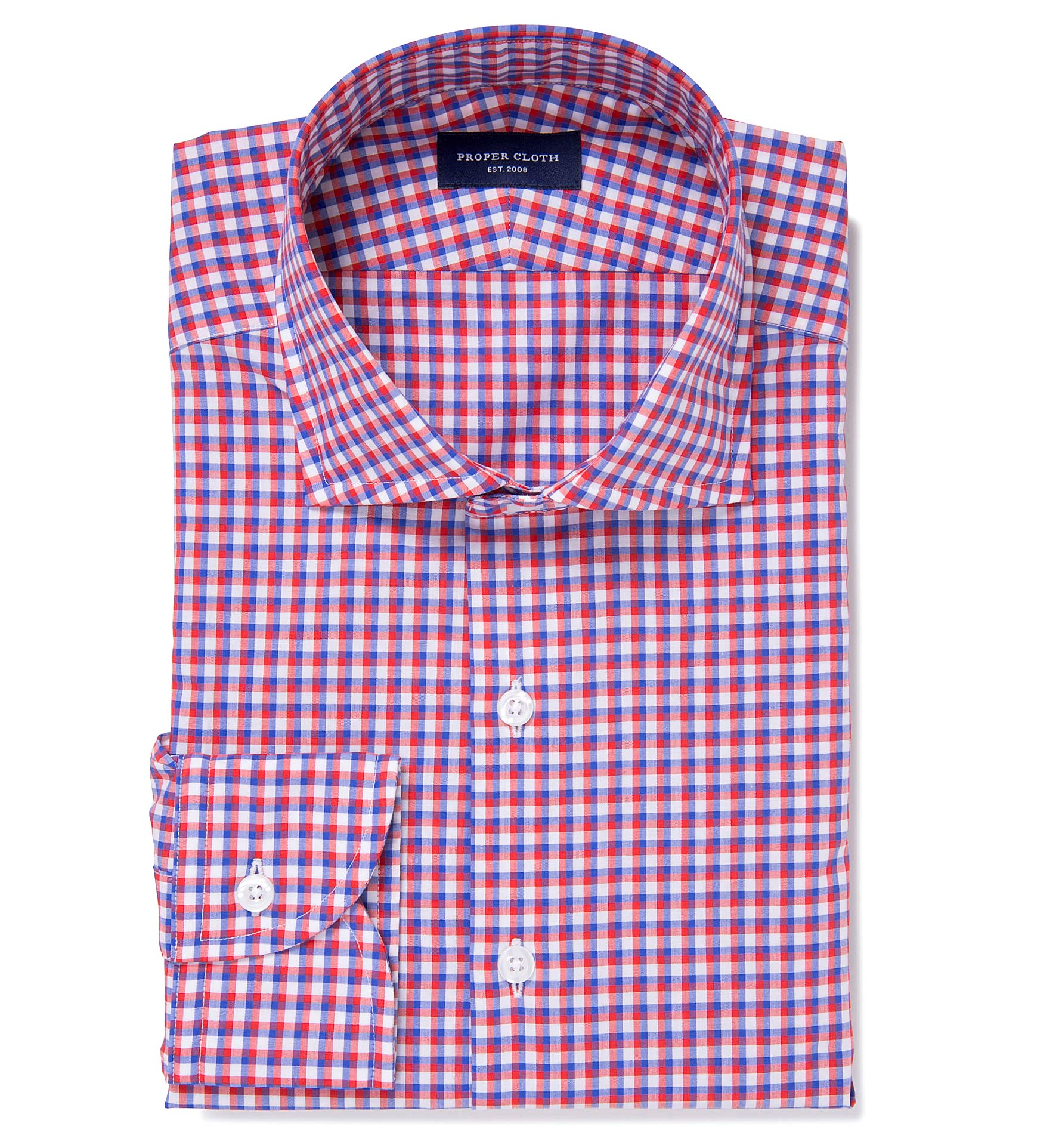 Thomas mason red and blue shadow check dress shirt by for Thomas mason dress shirts