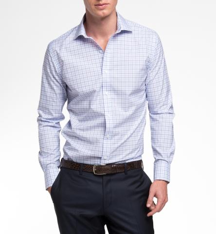 Thomas Mason Lavender End On End Check Custom Dress Shirt