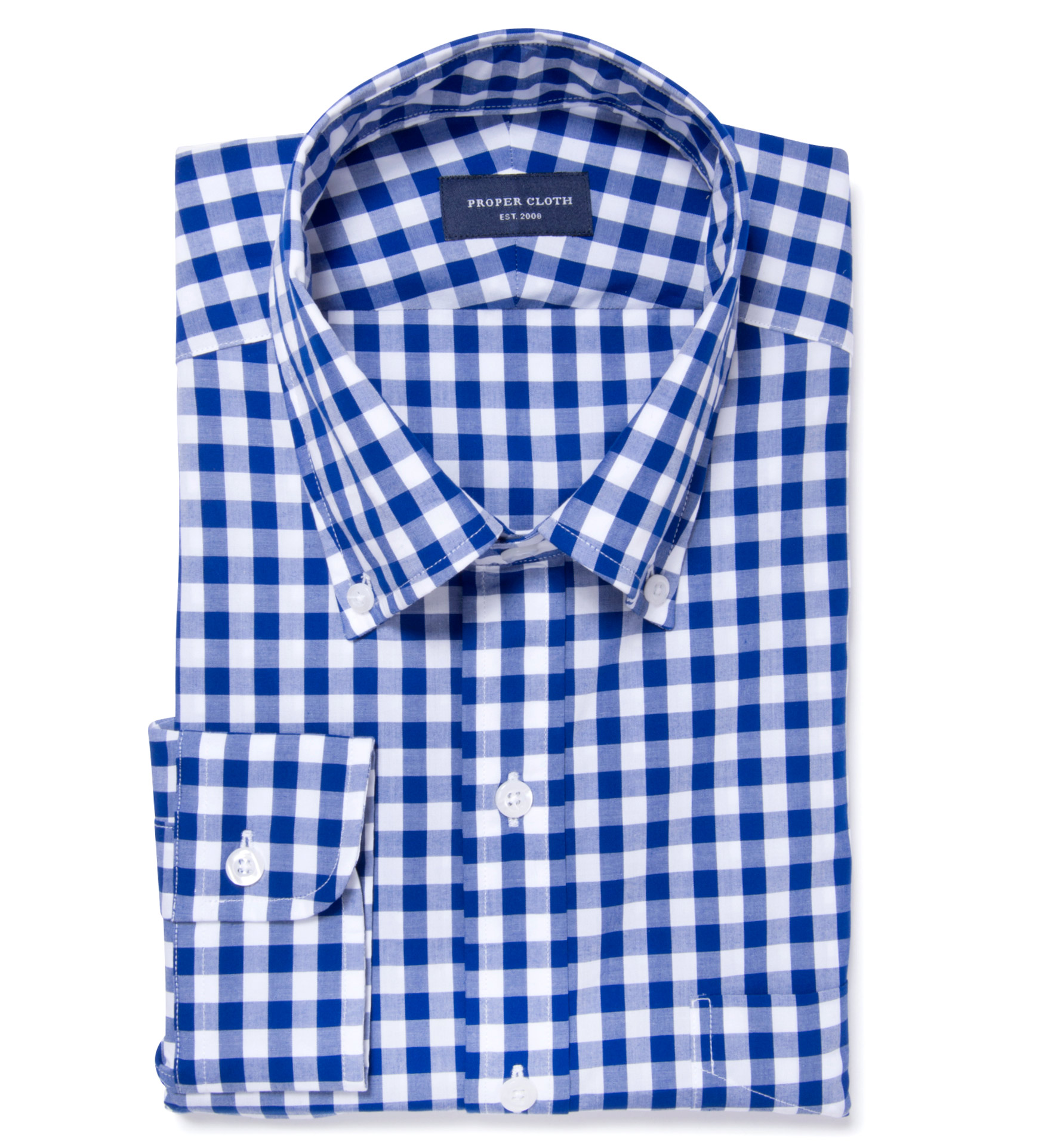 Royal Blue Large Gingham Men's Dress Shirt by Proper Cloth