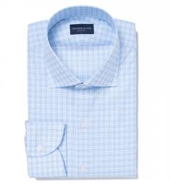 Carmine 120s Sky Blue Small Check Men's Dress Shirt