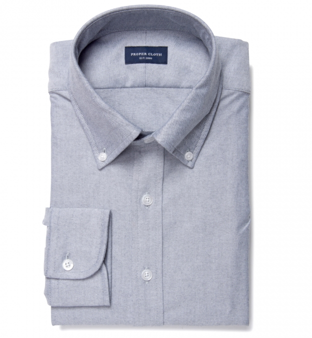 Charcoal heavy oxford tailor made shirt by proper cloth for Heavy button down shirts