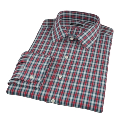 Red and Blue Block Plaid Fitted Shirt