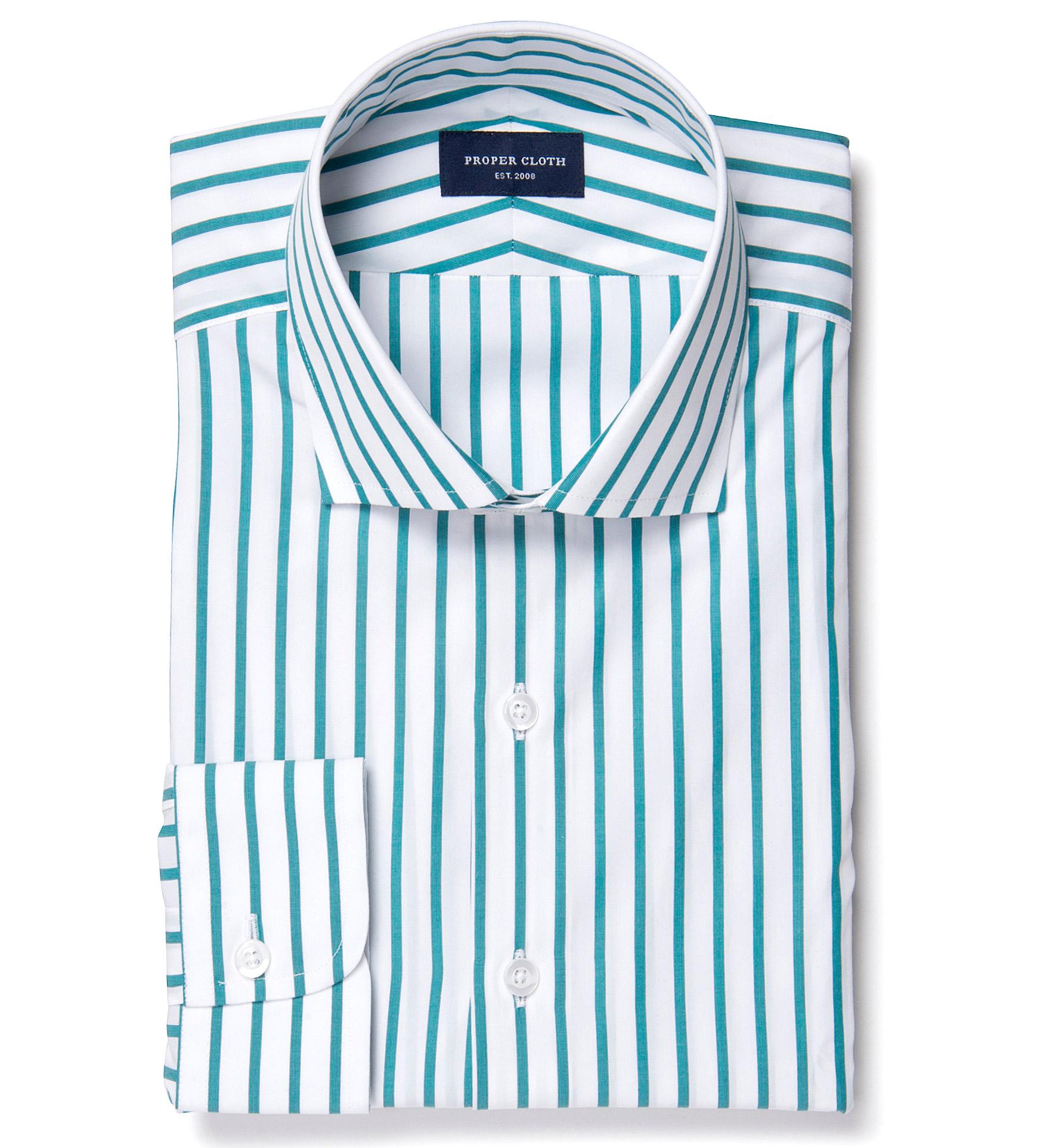 Canclini Teal Wide Stripe Dress Shirt By Proper Cloth