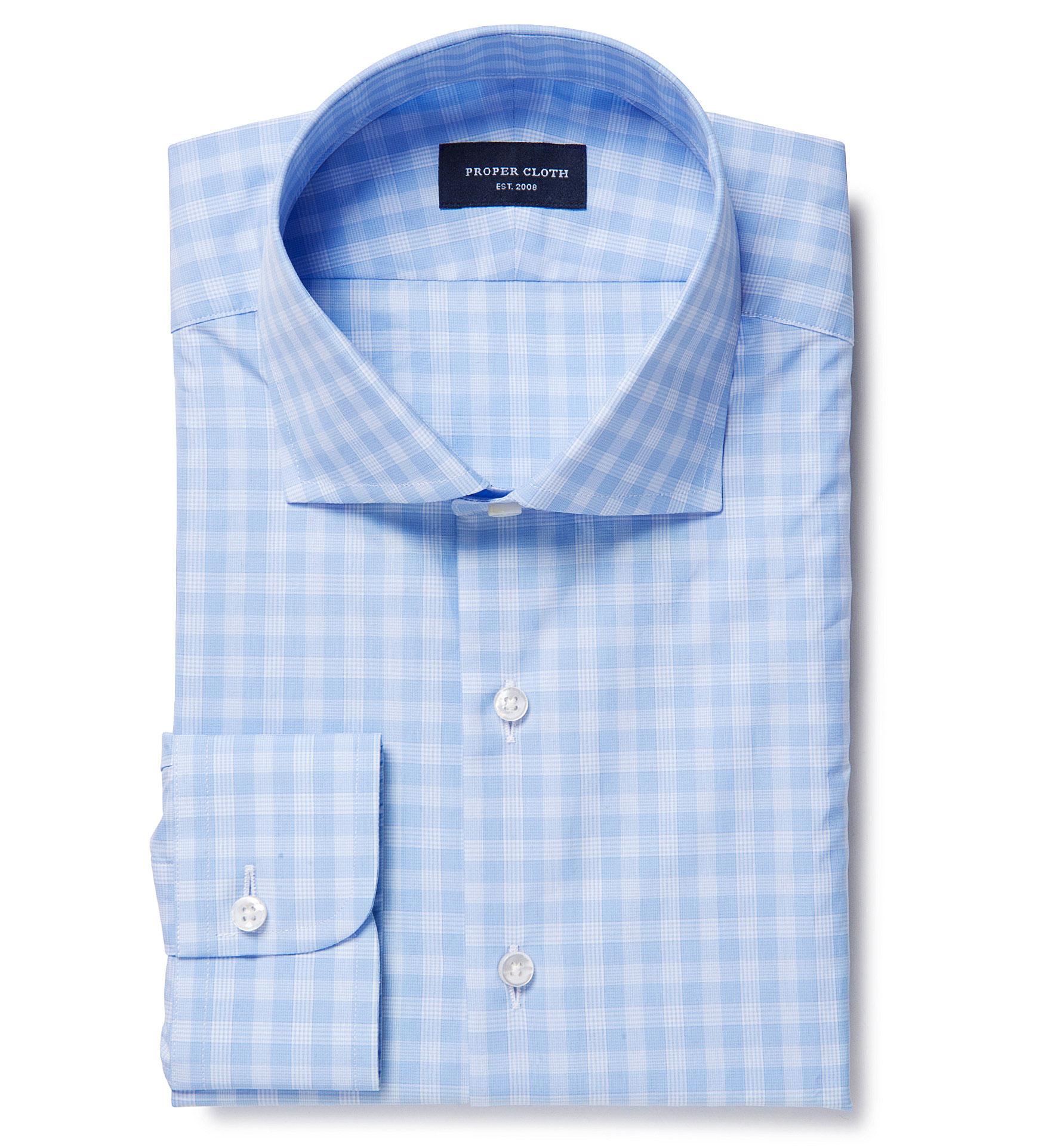 Thomas Mason Goldline Light Blue Large Check Dress Shirt