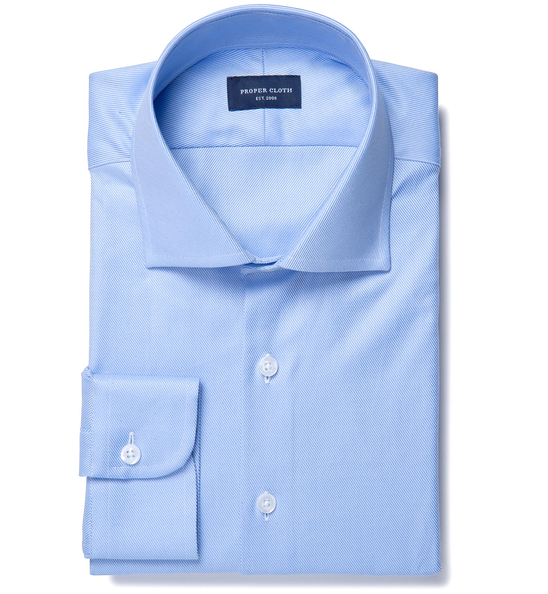 Sky blue wrinkle resistant cavalry twill custom made shirt for Wrinkle resistant dress shirts
