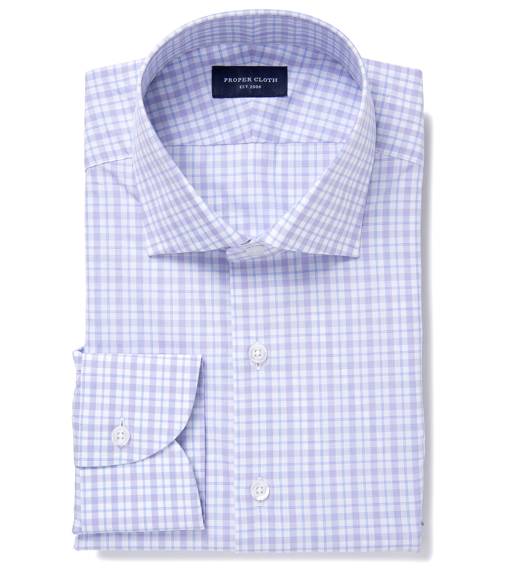 novara lavender and light blue check dress shirt by proper