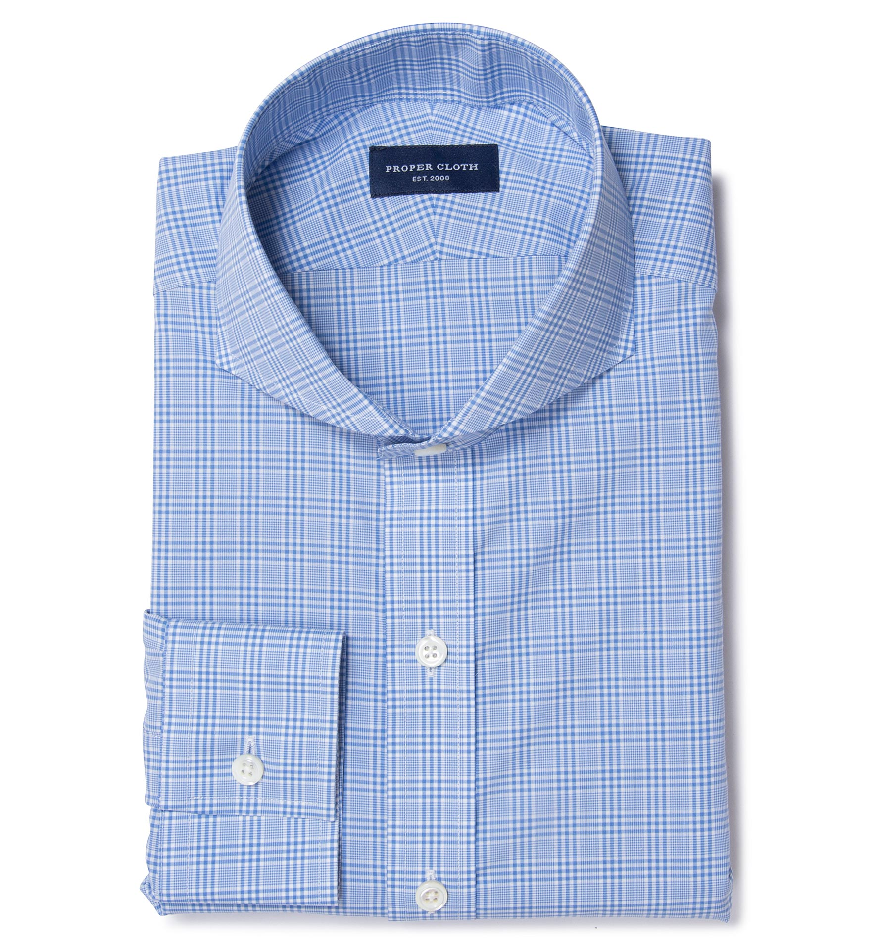 Thomas Mason Light Blue Glen Plaid Custom Dress Shirt by Proper Cloth