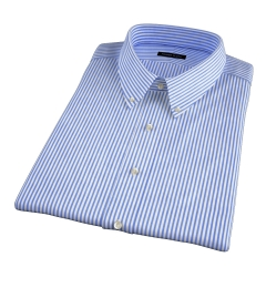 140s Navy Wrinkle-Resistant Bengal Stripe Short Sleeve Shirt