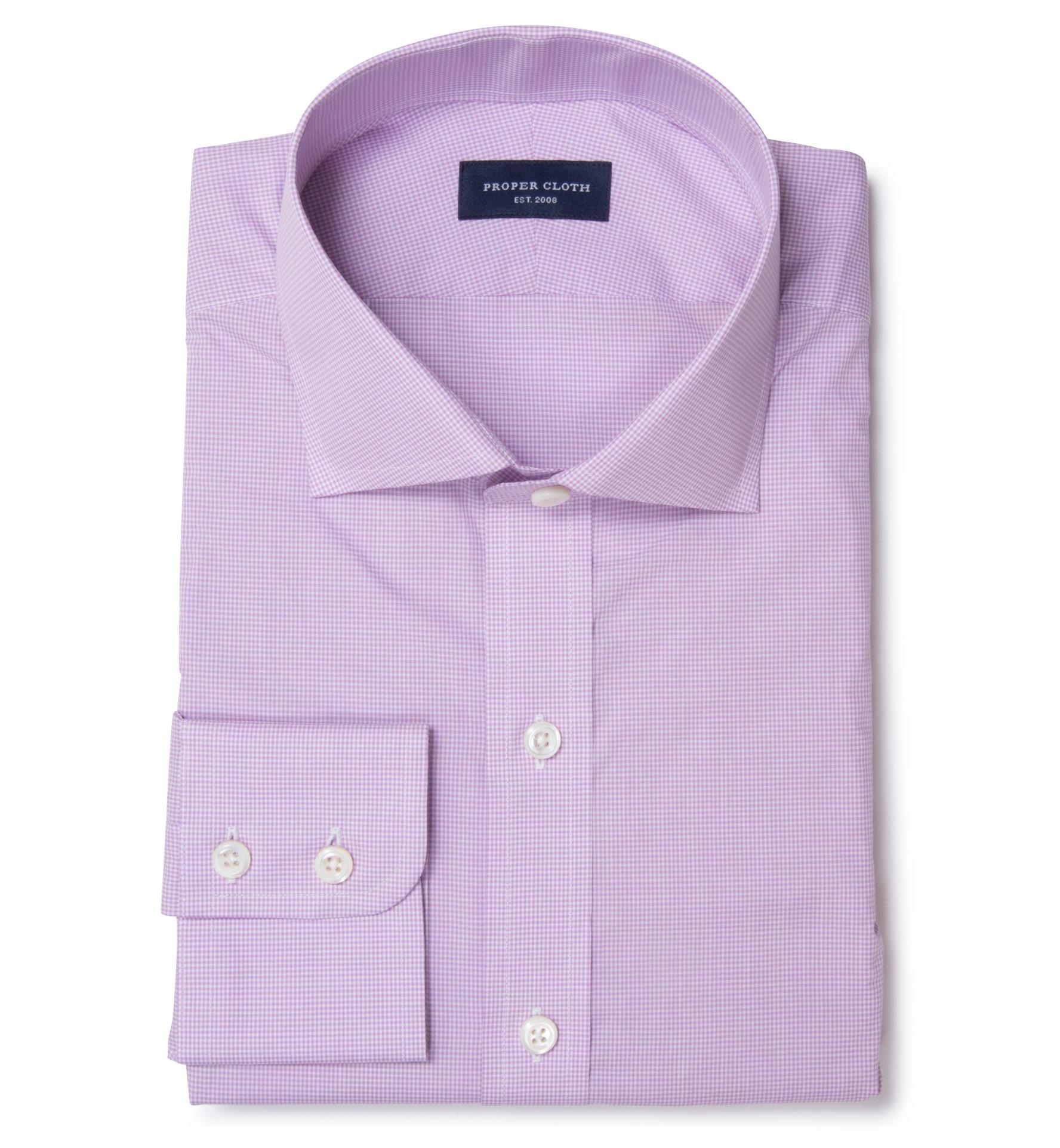 Canclini 140s Lavender Micro Check Men 39 S Dress Shirt By