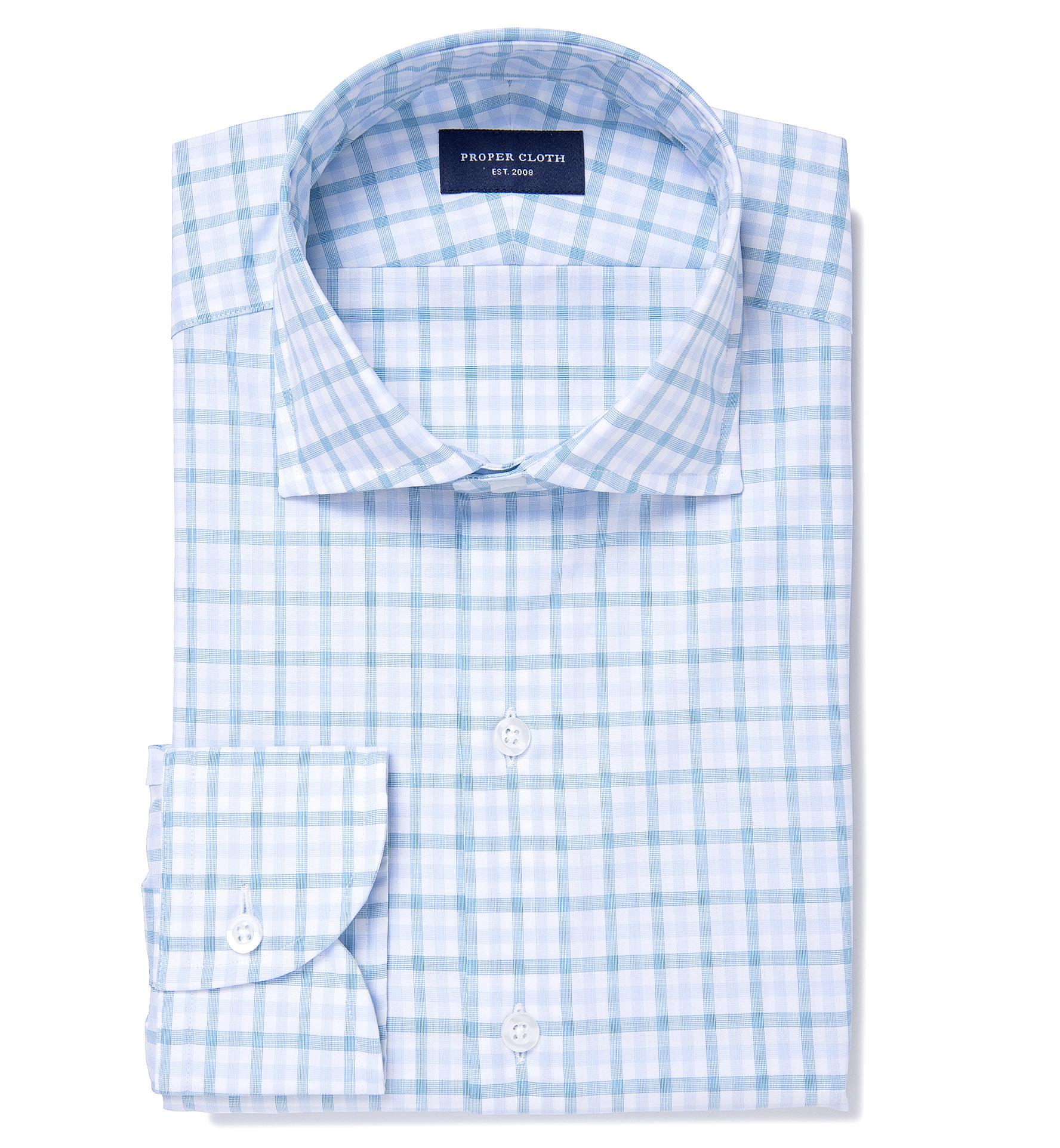 Thomas mason turquoise multi check fitted dress shirt by for Thomas mason dress shirts