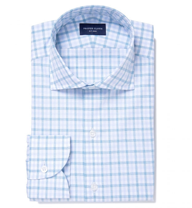 Thomas Mason Turquoise Multi Check Fitted Dress Shirt By