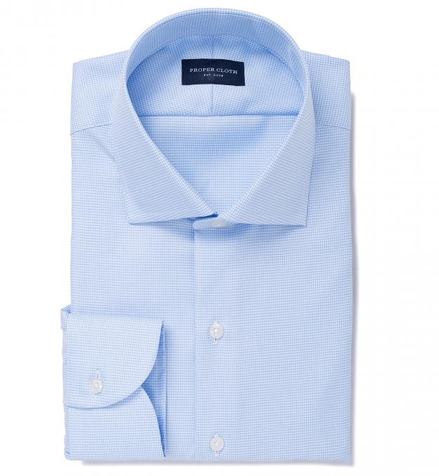 Mayfair wrinkle resistant light blue houndstooth fitted for Wrinkle resistant dress shirts