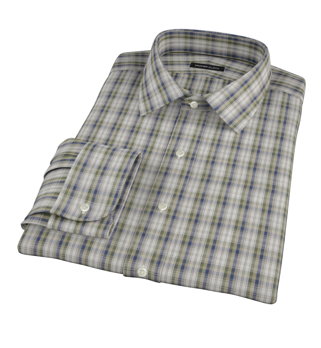 Green and blue plaid fitted shirt by proper cloth for Blue and green tartan shirt