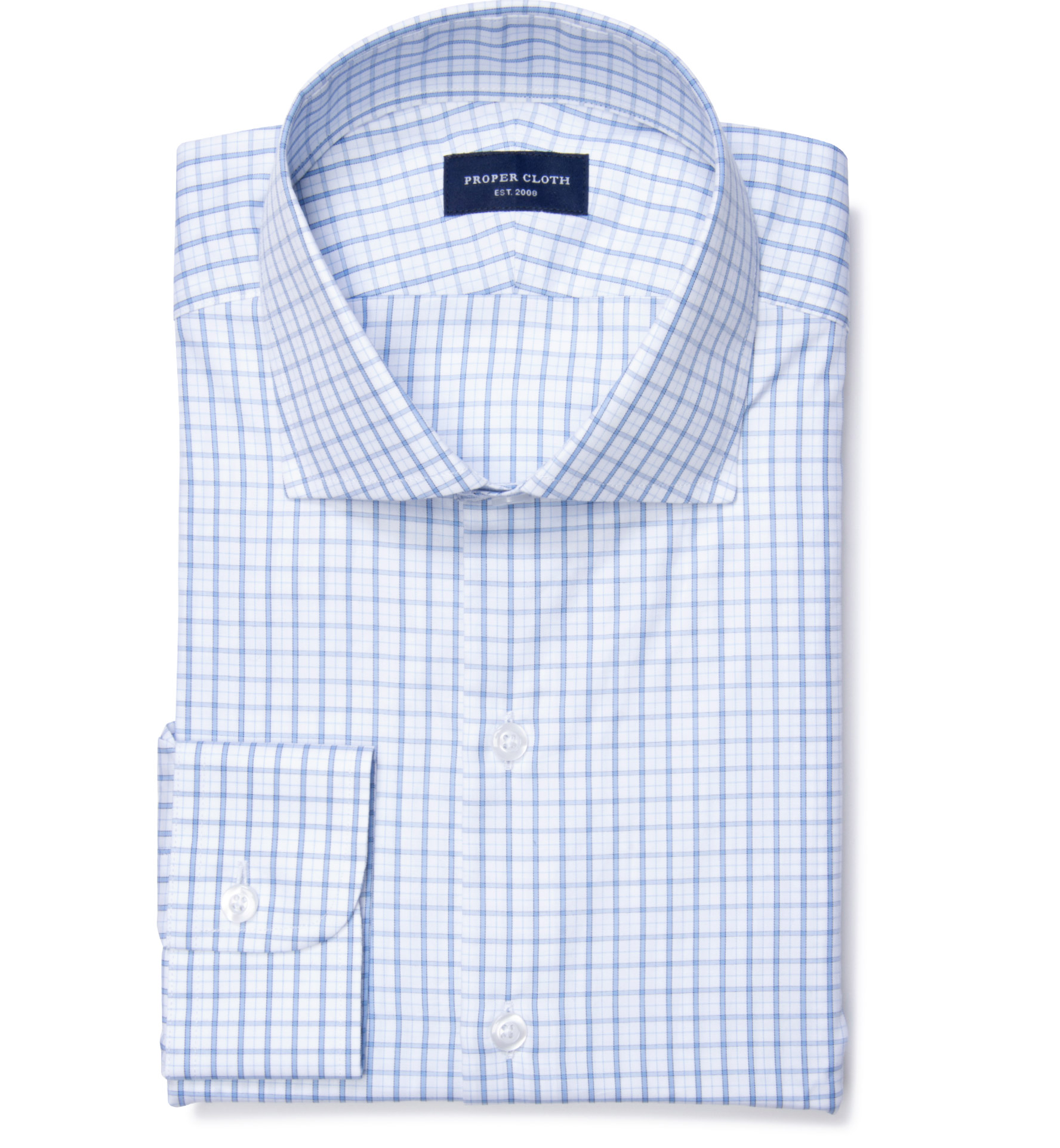 Cooper light blue on blue check dress shirt by proper cloth for Blue check dress shirt