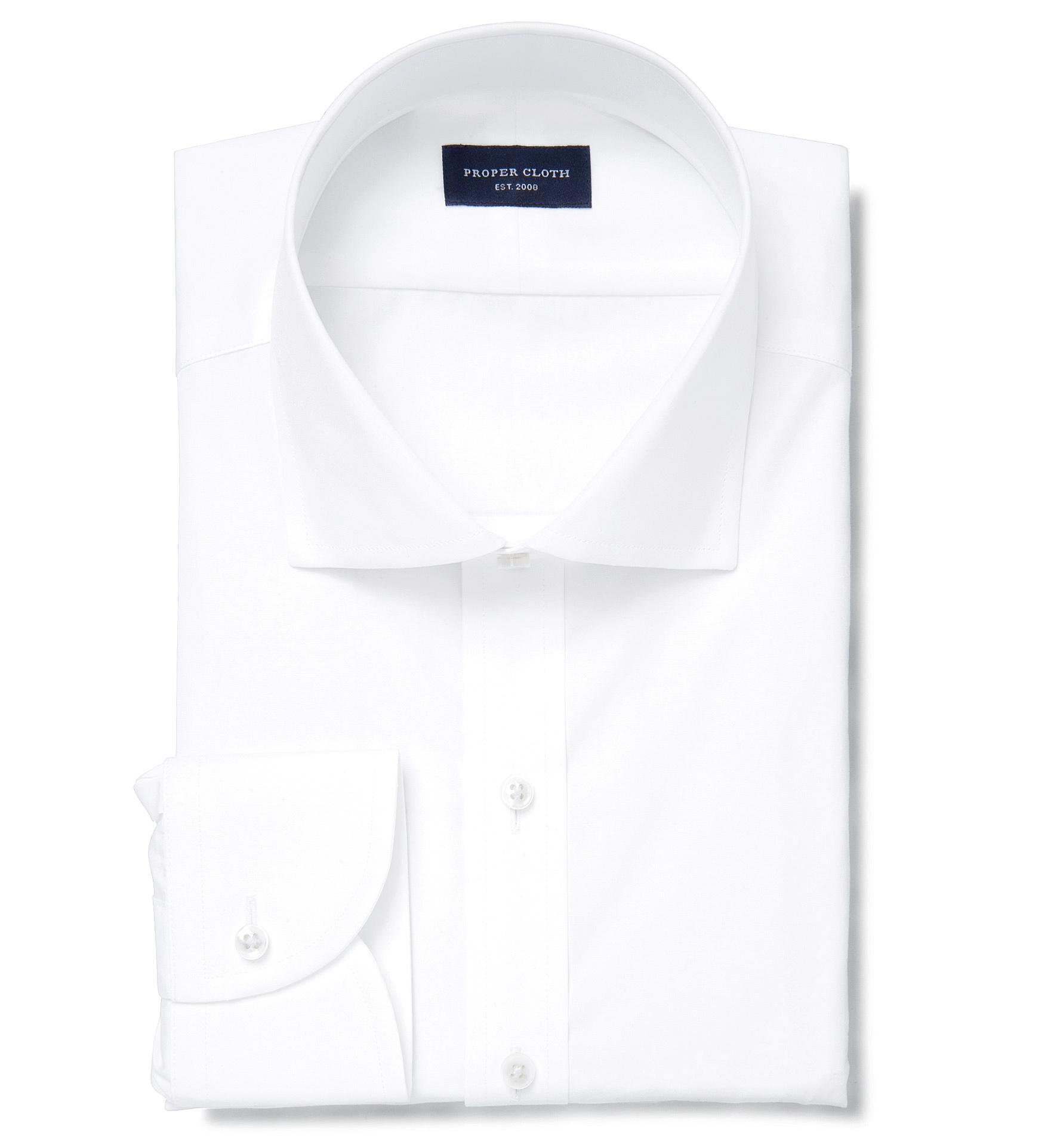 Thomas Mason White Luxury Broadcloth Dress Shirt By Proper