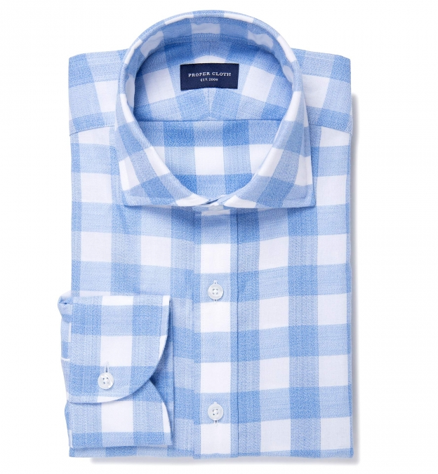 Light Blue Heathered Gingham Flannel Fitted Dress Shirt By