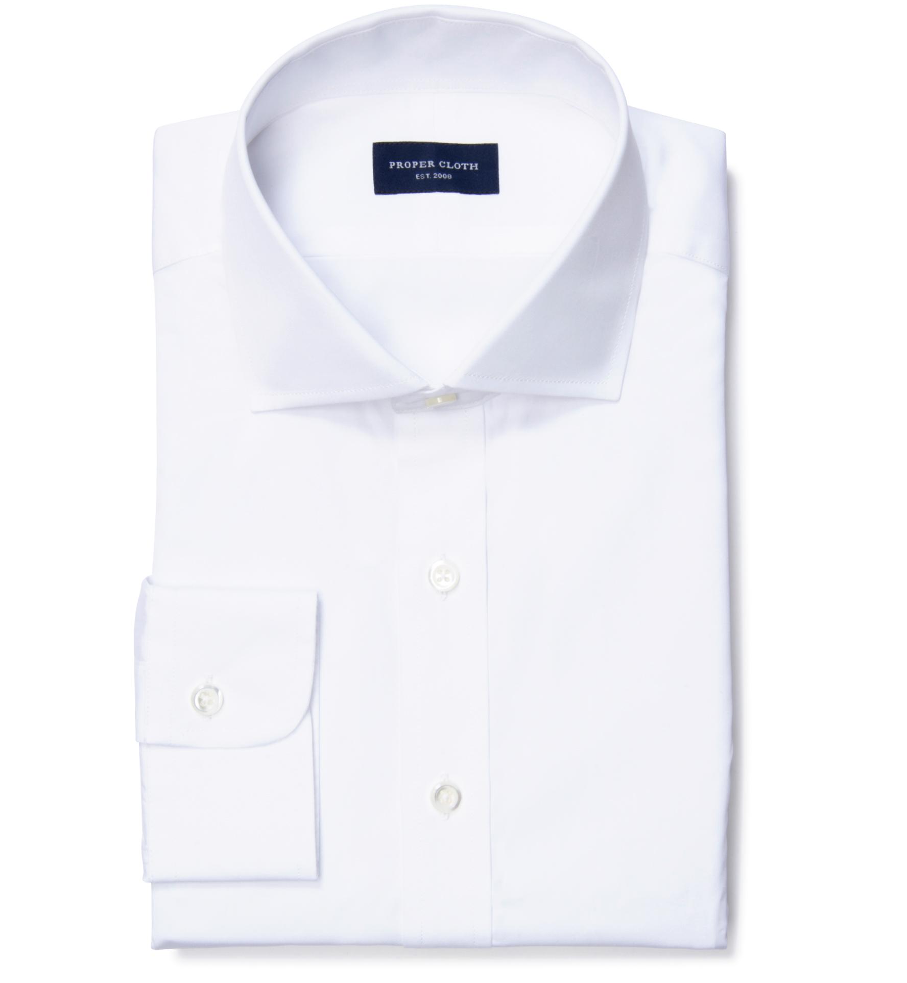 Thomas Mason White Luxury Broadcloth Tailor Made Shirt By