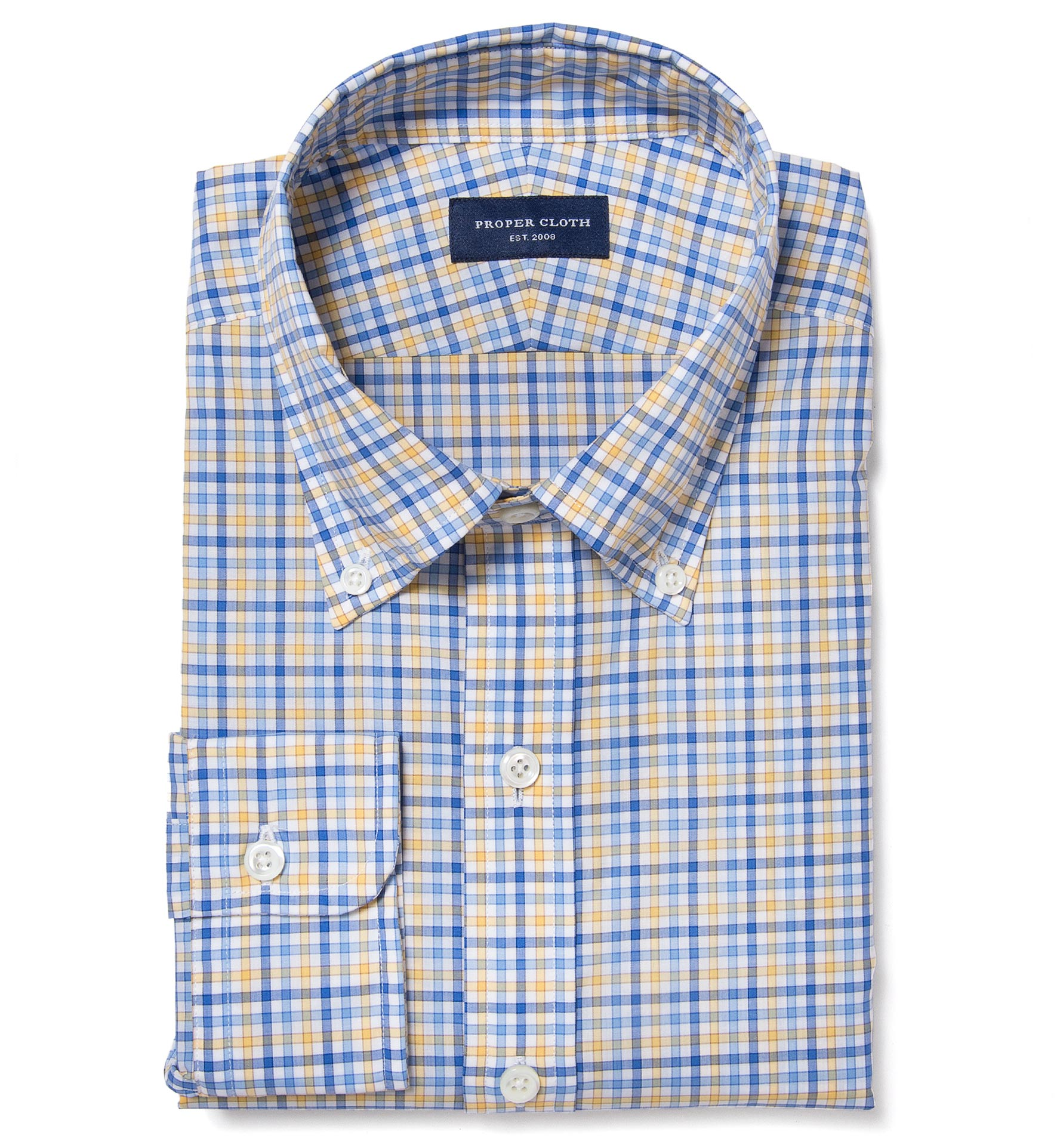 thomas mason yellow blue check fitted dress shirt by