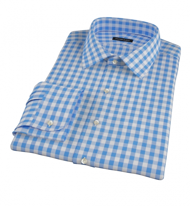 light blue large gingham tailor made shirt by proper cloth