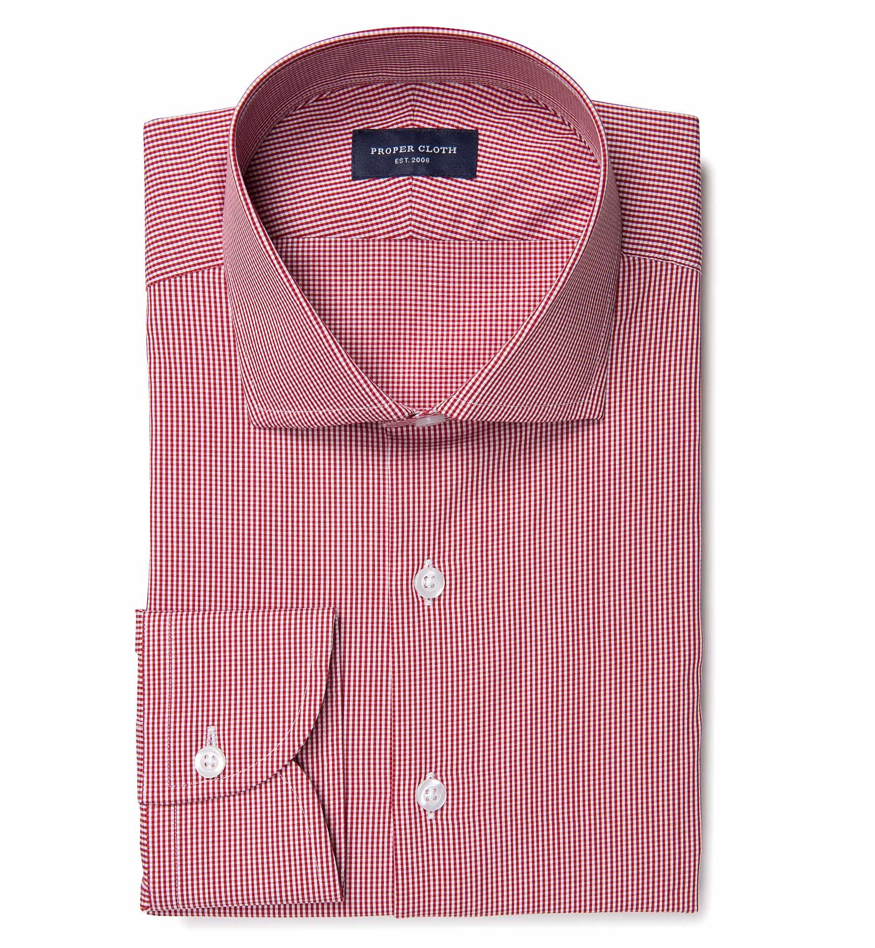 Vestry red mini gingham men 39 s dress shirt by proper cloth for Men s red gingham dress shirt