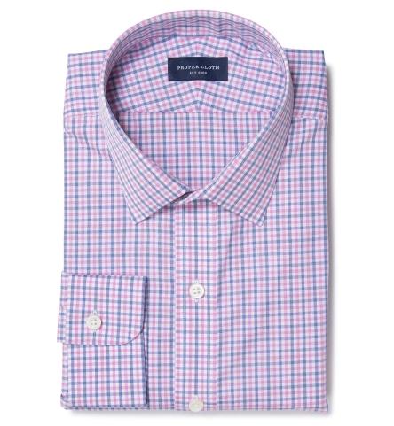 Thomas Mason Pink End On End Check Custom Made Shirt By