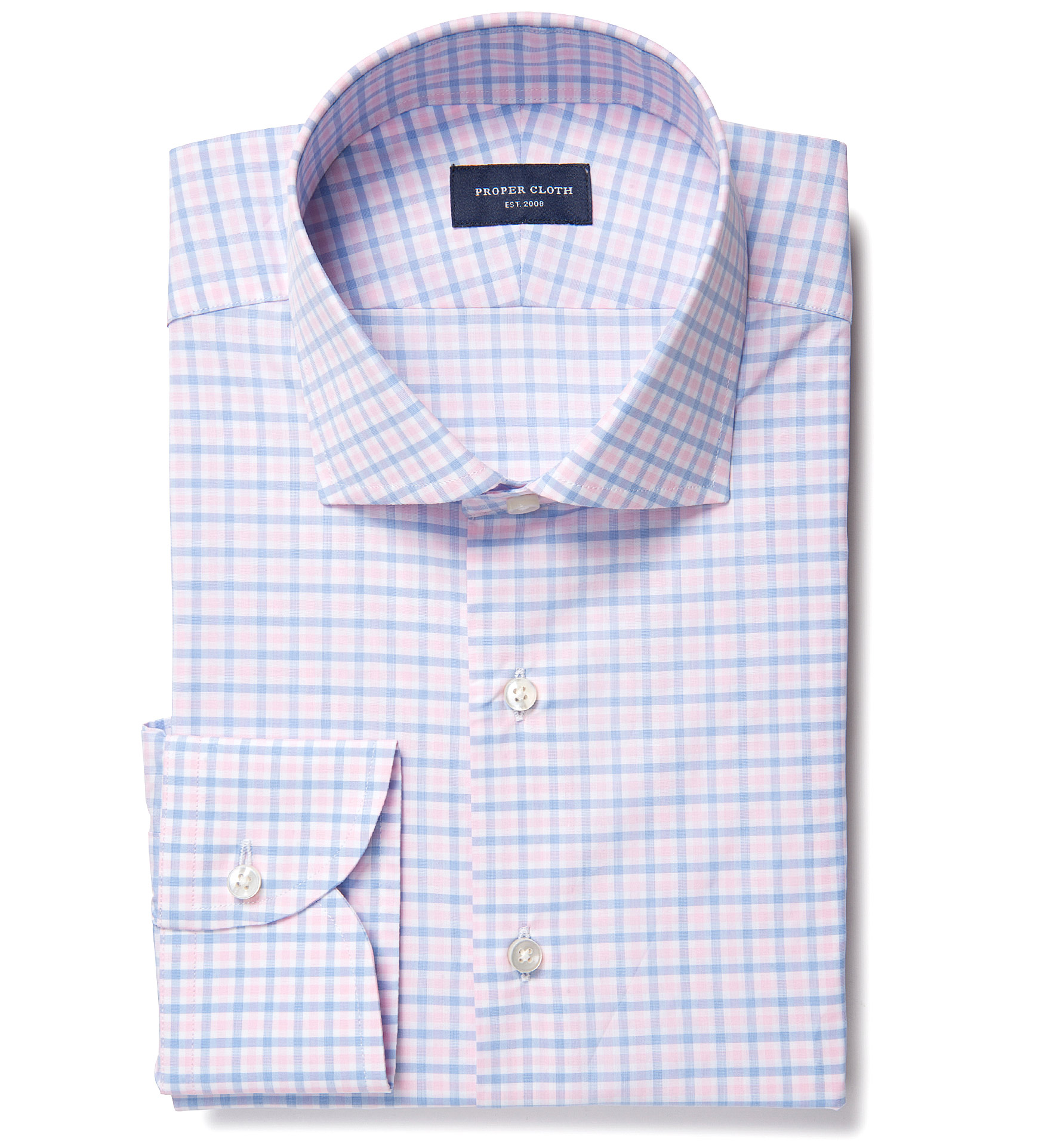thomas mason goldline pink multi check dress shirt by