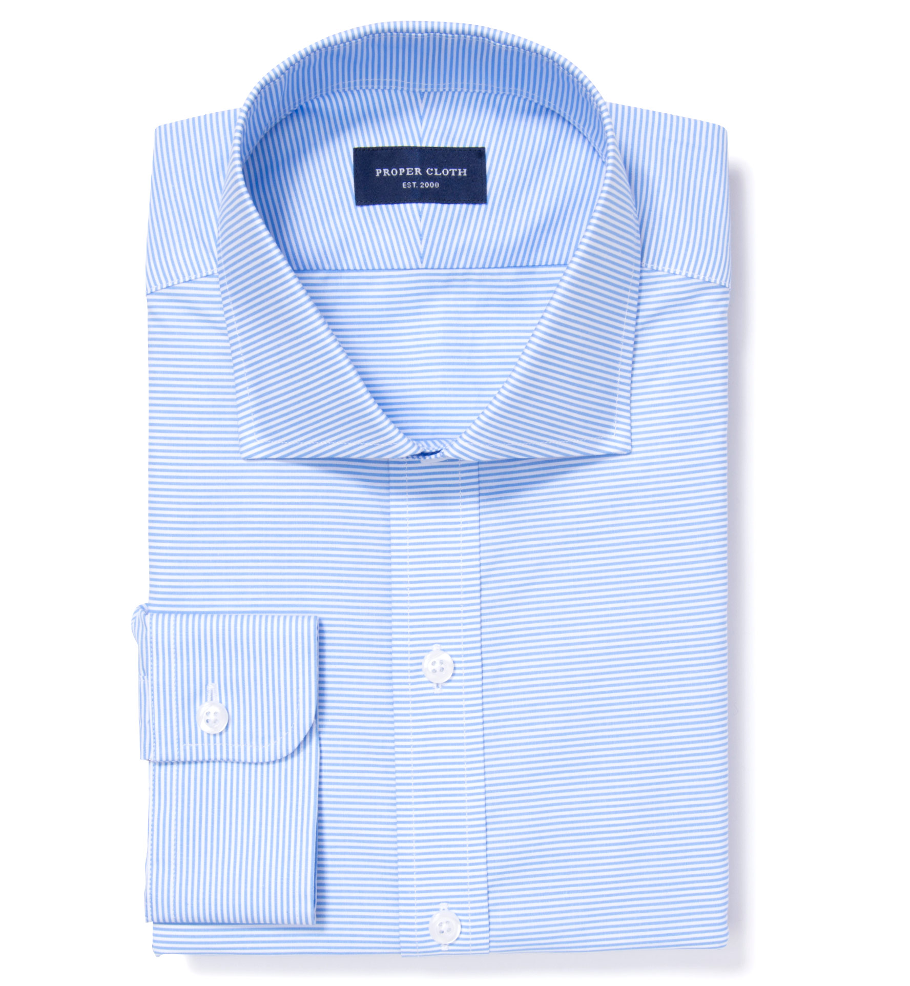 Carmine Light Blue Horizontal Stripe Dress Shirt by Proper Cloth