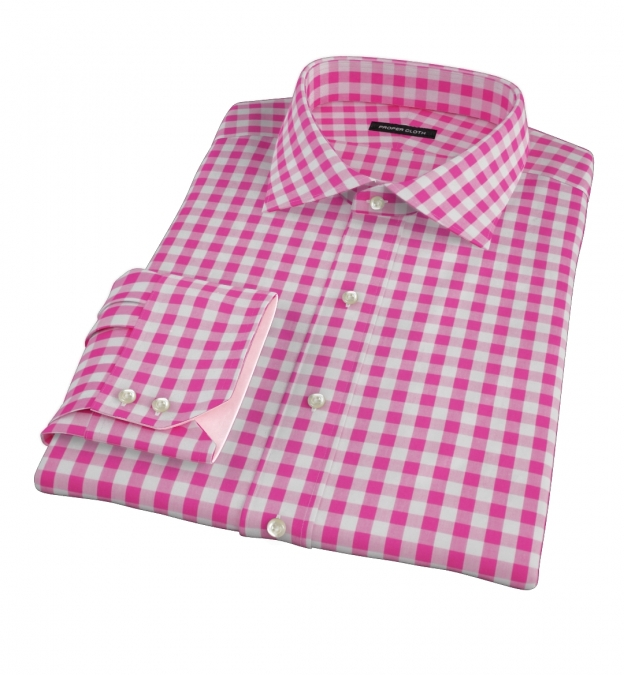 Pink large gingham fitted dress shirt by proper cloth for Men s red gingham dress shirt