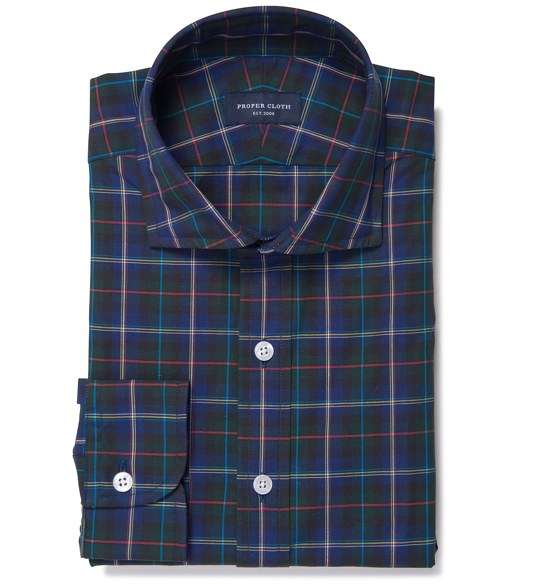 Wythe blue and green plaid fitted dress shirt by proper cloth for Blue and green tartan shirt