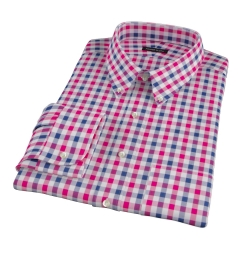 Red and Navy Large Gingham Men's Dress Shirt