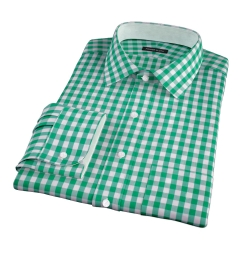 Green Large Gingham Fitted Dress Shirt