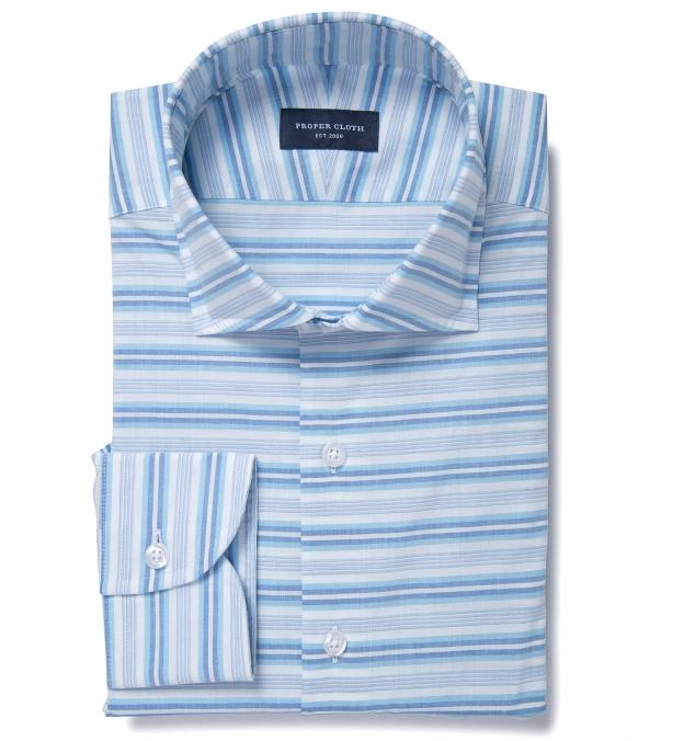 Aqua And Blue Horizon Stripe Fitted Dress Shirt By Proper