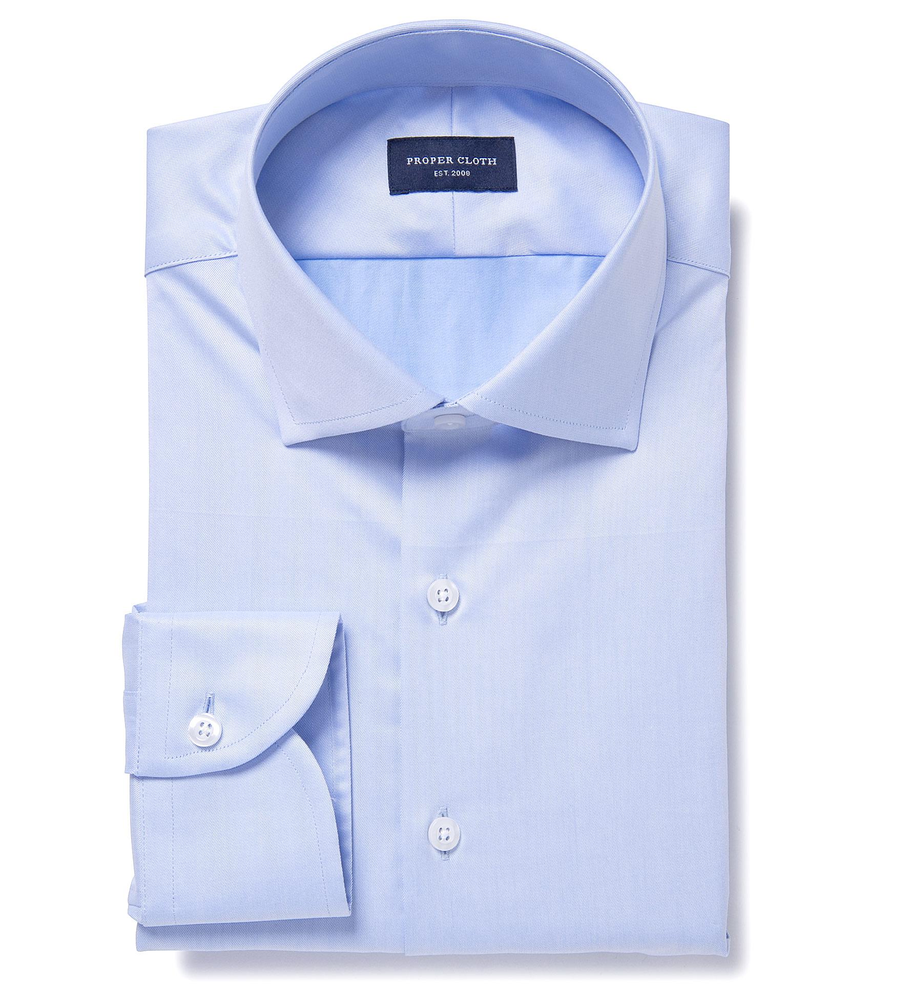 Regent light blue wrinkle resistant twill fitted dress for Wrinkle resistant dress shirts