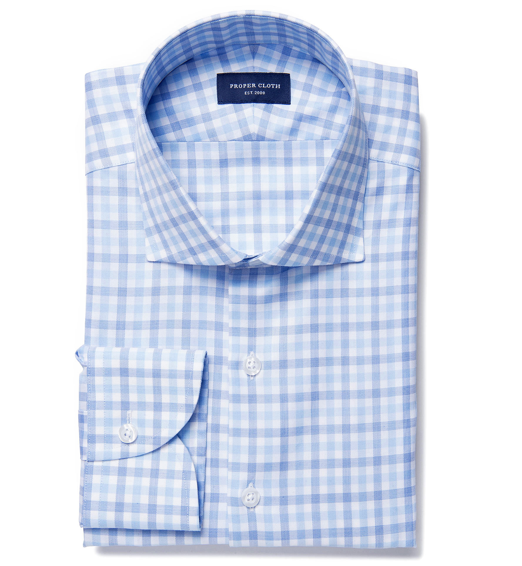 Lucca blue multi gingham fitted dress shirt by proper cloth for Proper cloth custom shirt price