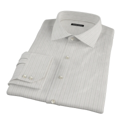 Lavender Grey Dobby Stripe Fitted Dress Shirt