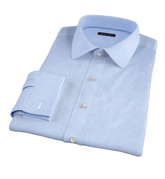 Sky Blue Wrinkle-Resistant Cavalry Twill Fitted Dress Shirt