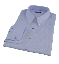 Light Blue Linen-Effect Custom Dress Shirt