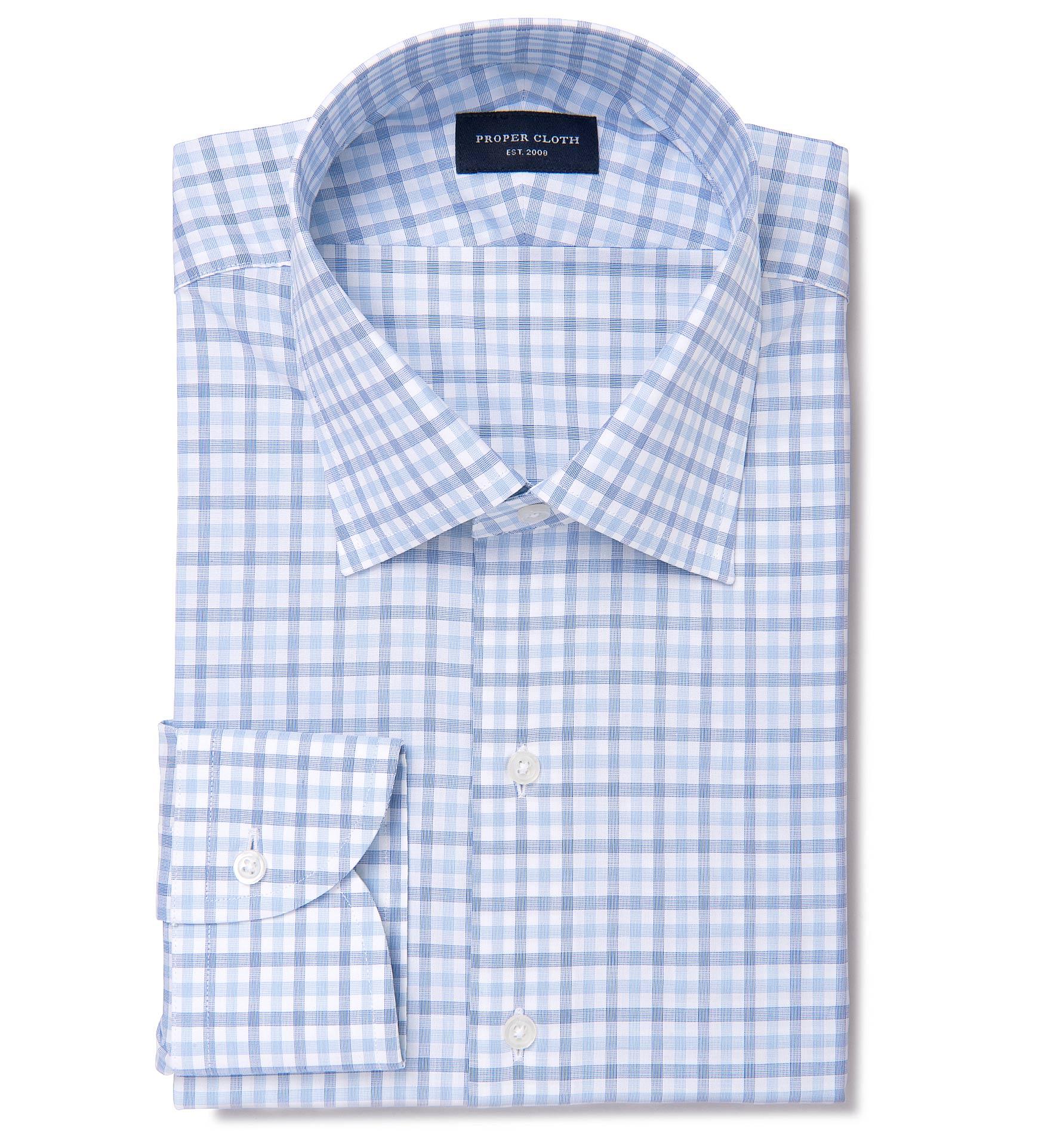 Thomas Mason Blue End On End Check Dress Shirt By Proper Cloth