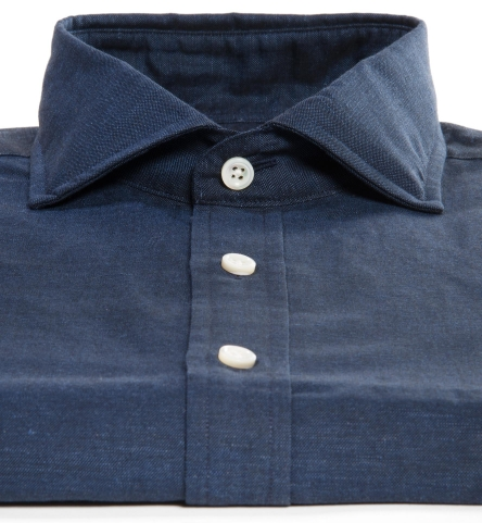 Navy cotton and linen oxford fitted dress shirt by proper for Proper cloth custom shirt price