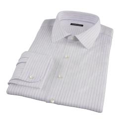 Albini Lavender Satin Stripe Dress Shirt