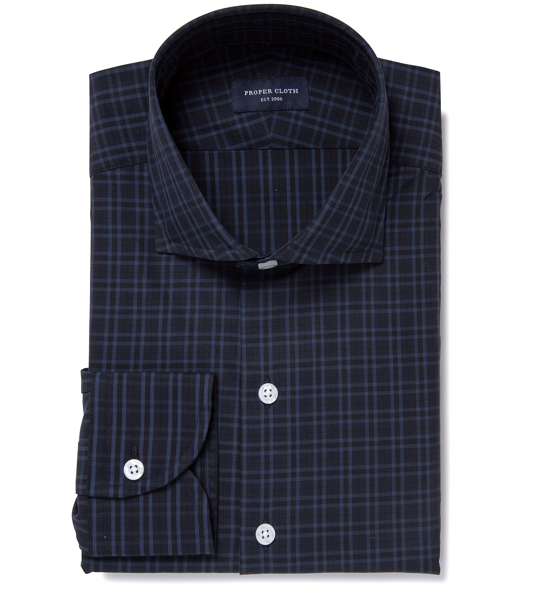 Thompson Navy And Blue Plaid Fitted Dress Shirt By Proper