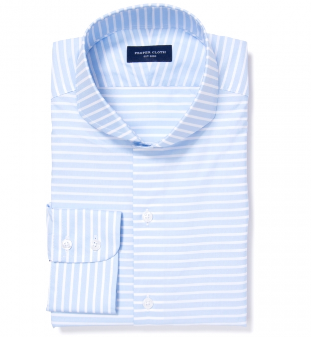 Canclini light blue wide horizontal stripe fitted shirt by for Horizontal striped dress shirts men