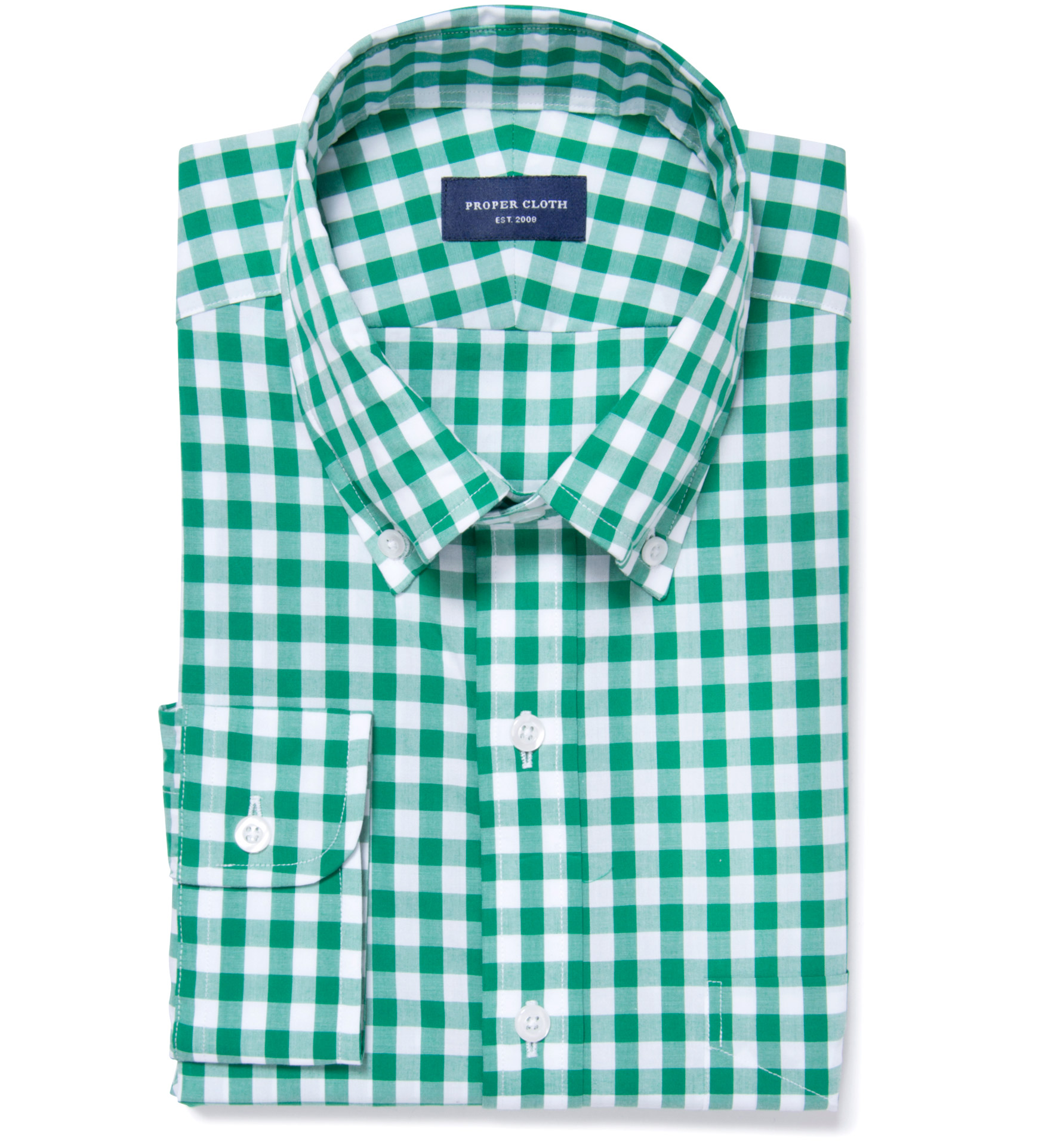 Green large gingham fitted shirt by proper cloth for Proper cloth custom shirt price