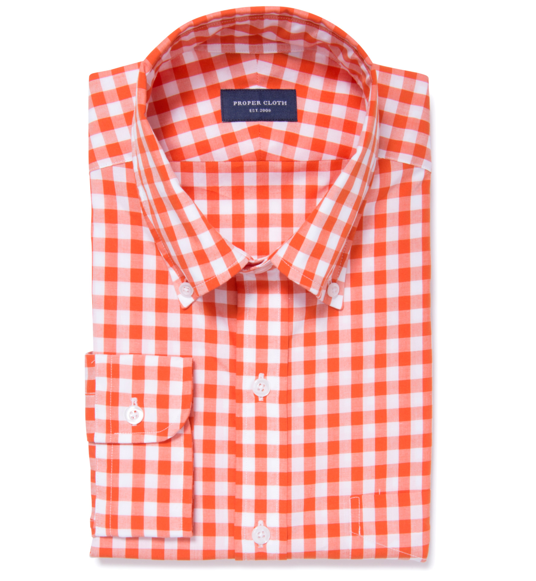 Orange large gingham men 39 s dress shirt by proper cloth for Proper cloth custom shirt price