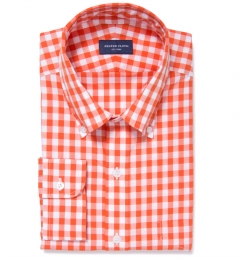 Orange large gingham shirts by proper cloth for Red and green checked shirt